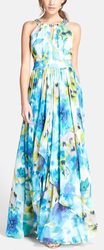 watercolor print maxi dress | la fashionista | Pinterest ...