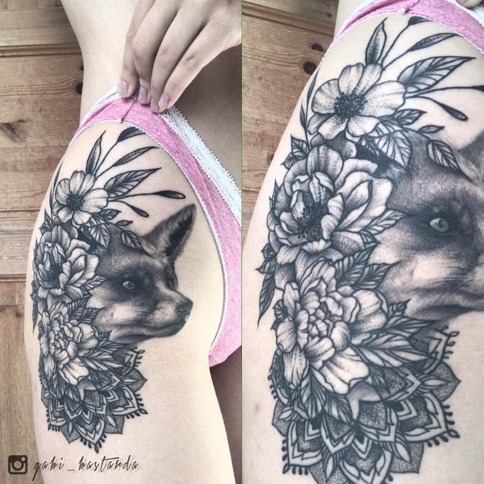 Fox foxtattoo tattoo mandala mandalatattoo flower