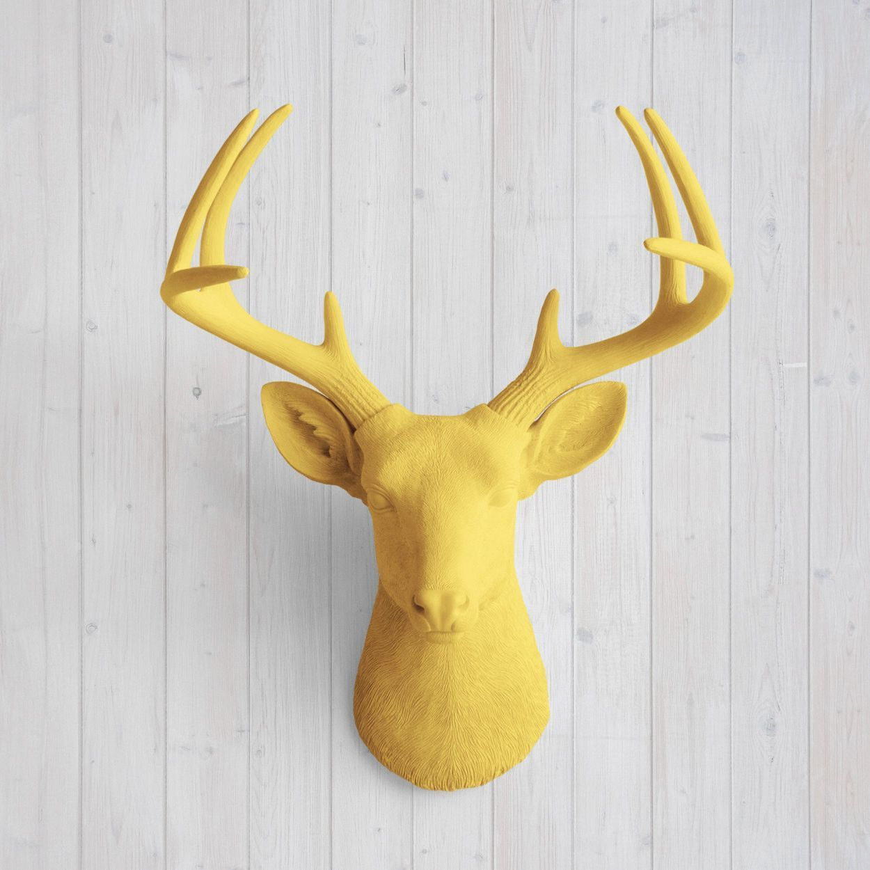 The Virginia Large Curry Orange Faux Taxidermy Resin Deer Head Wall ...