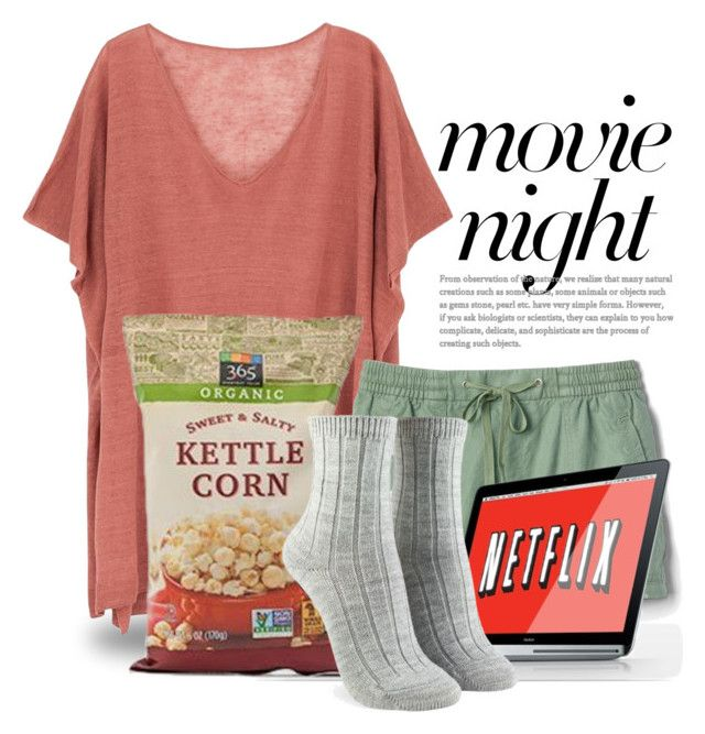 """Bring the Popcorn: Movie Night 4460"" by boxthoughts ❤ liked on Polyvore featuring Ille De Cocos, Gap, Forever 21 and movieNight"