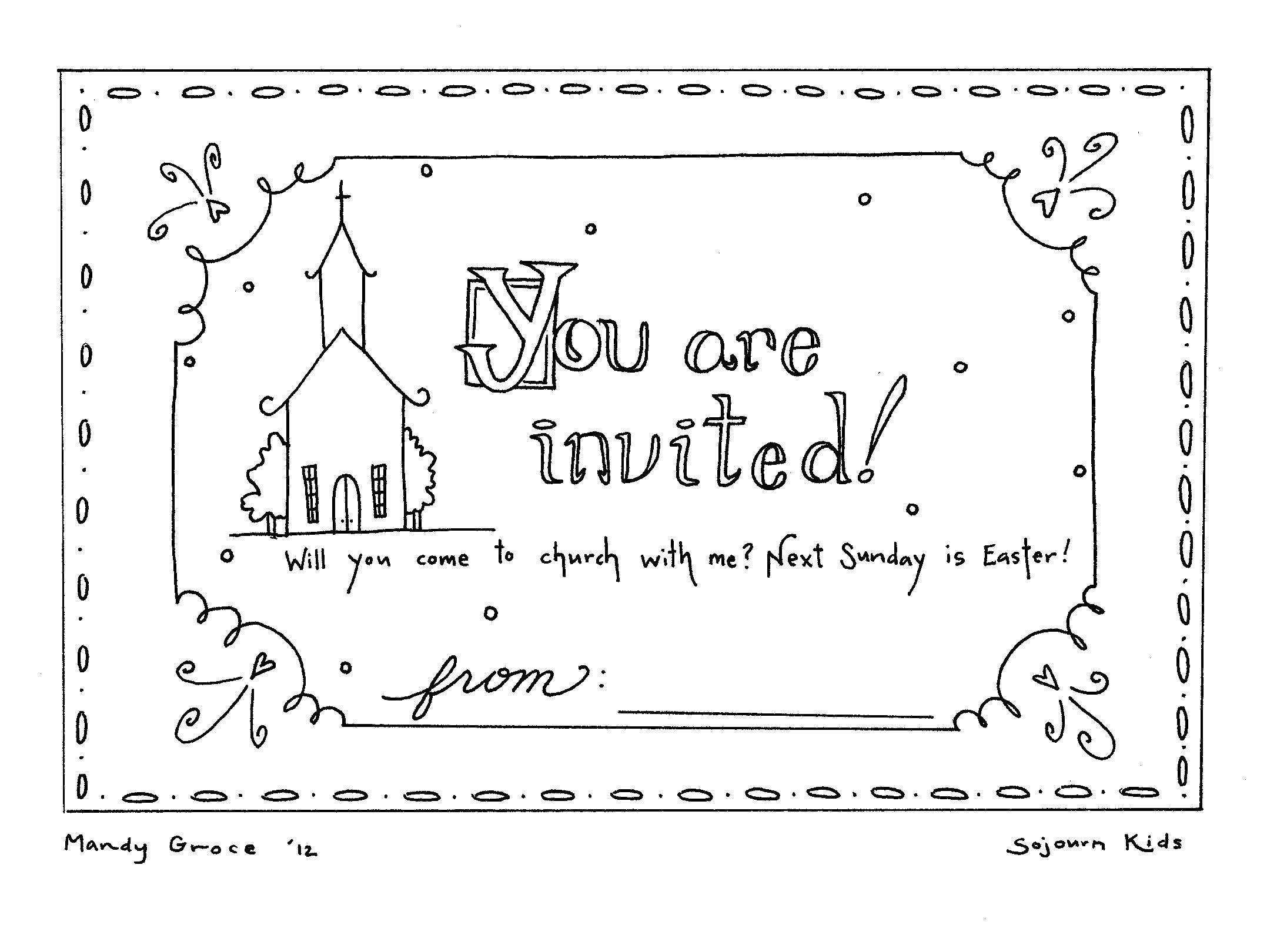 Easter Sunday Invitation Coloring Pages Sunday school