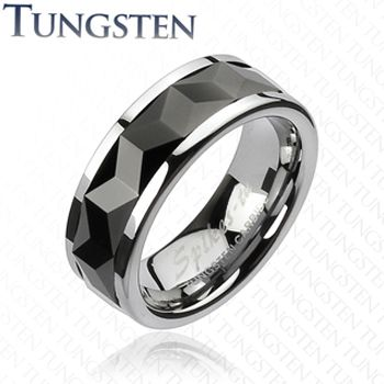 Size 9- Spikes Mens Tungsten Carbide Black Ip Multi-faceted Rhombus Cut Spinner Ring