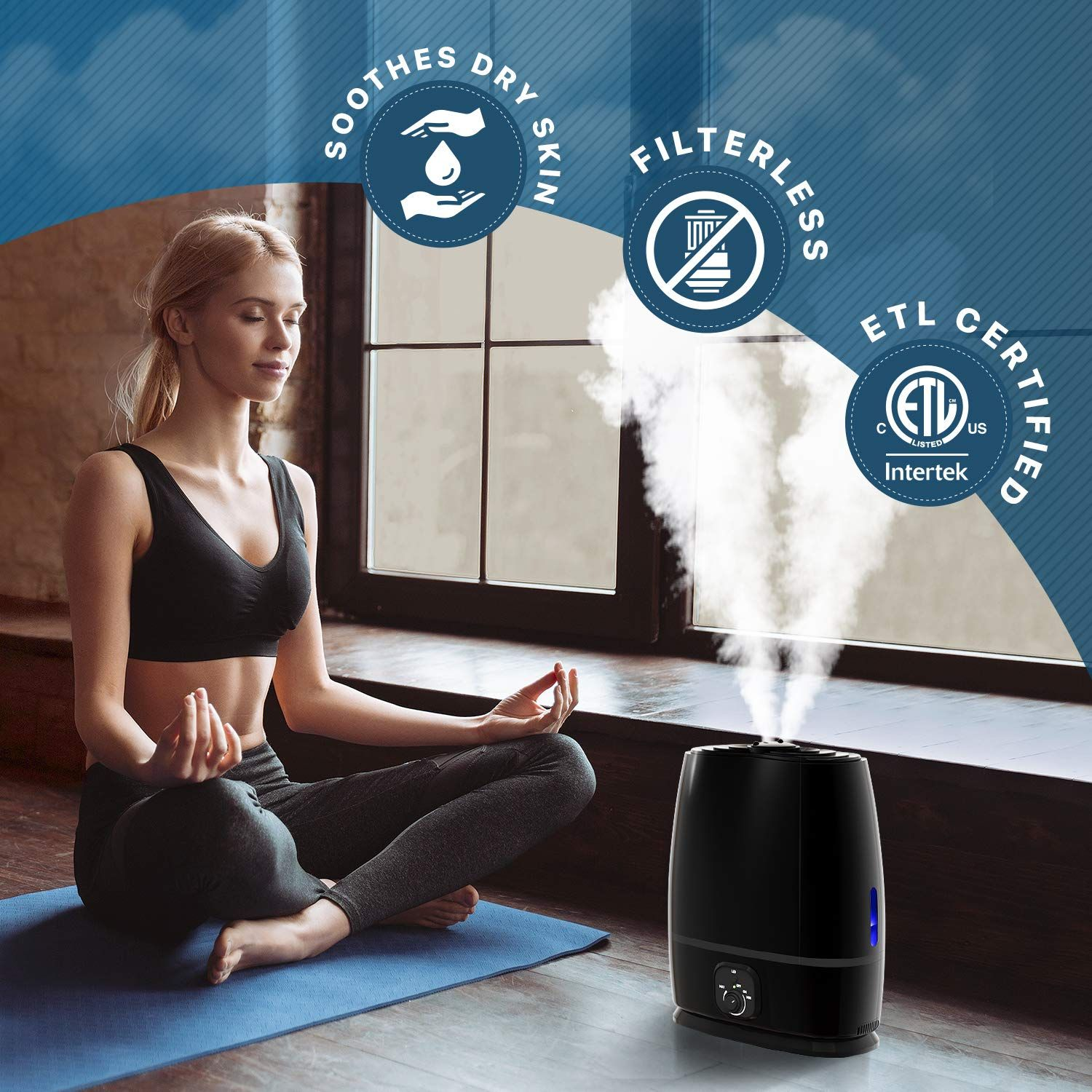 Ultrasonic Cool Mist Humidifier (6L) with Essential Oil