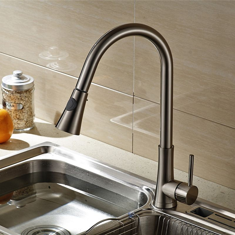 Alger Brushed Nickel Finish Kitchen Sink Faucet With Pull Out