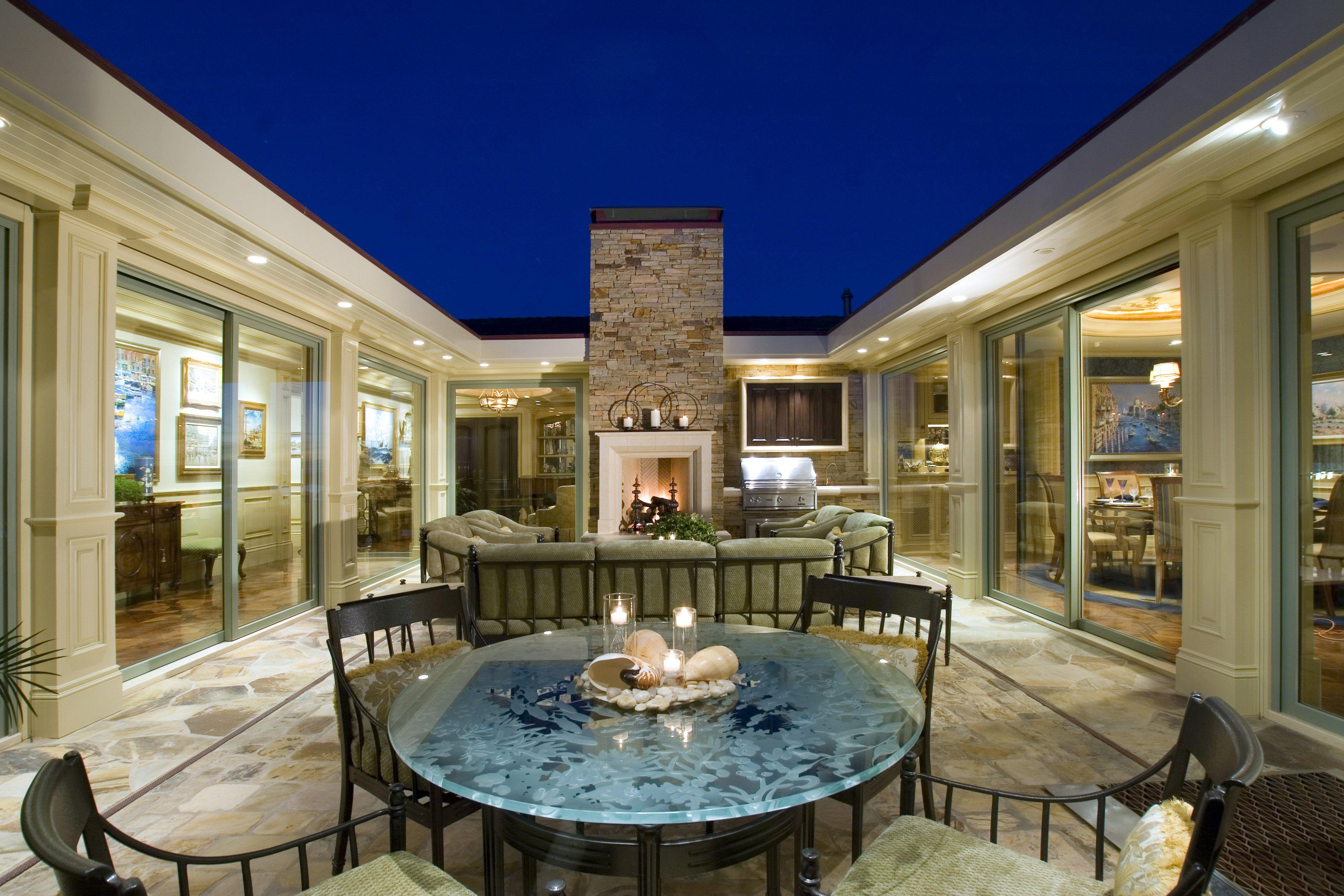 Atrium courtyard in a u shaped house | Outdoor Spa Deck | Pinterest