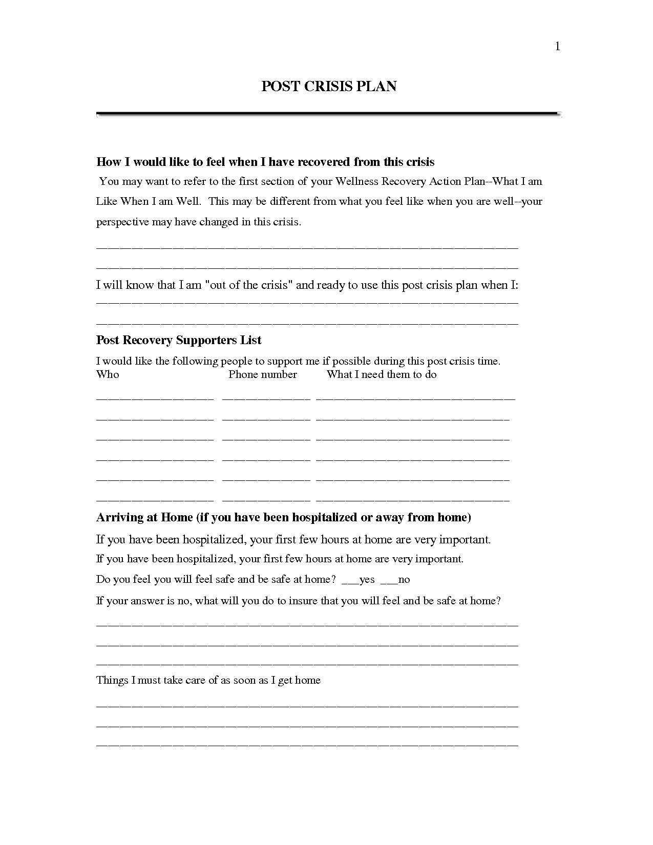 16 Best Images Of Recovery Support Worksheet Early