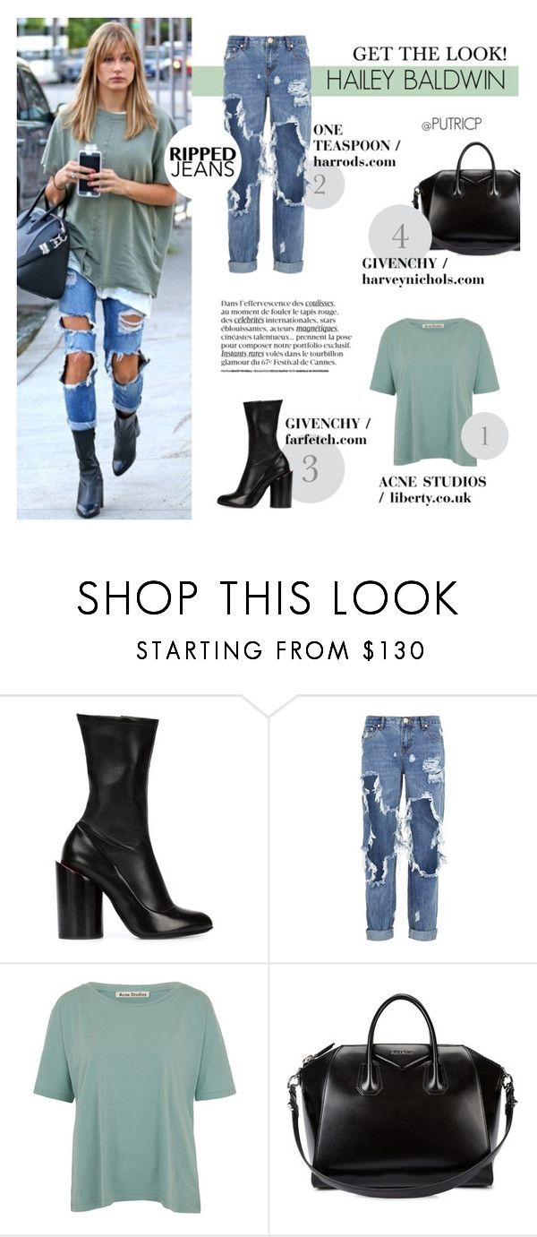 """""""Rebel: Hailey Baldwin"""" by putricp ❤ liked on Polyvore featuring Baldwin, Givenchy, One Teaspoon, Acne Studios, GetTheLook, Stealherstyle, rippedjeans, putricp and haileybaldwin"""