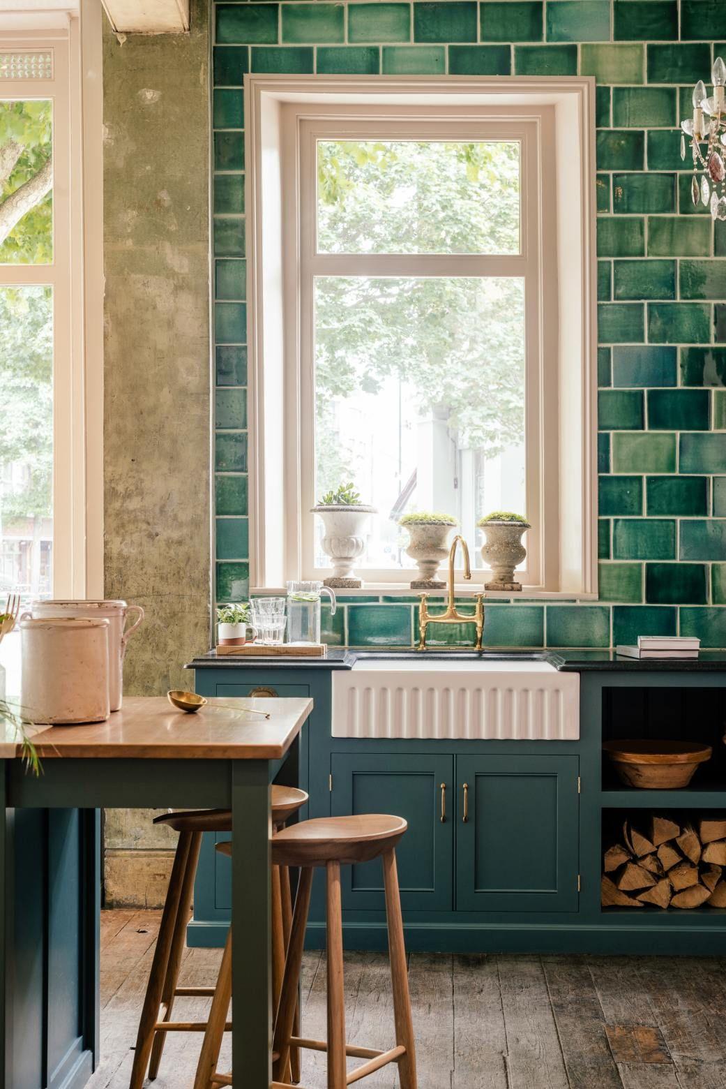 The St John S Square Showroom Devol Kitchens Dark Green Kitchen Green Kitchen Cabinets Devol Kitchens