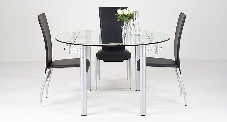LENZ Round Glass Extending Dining Table Glass Furniture - Small glass extending dining table