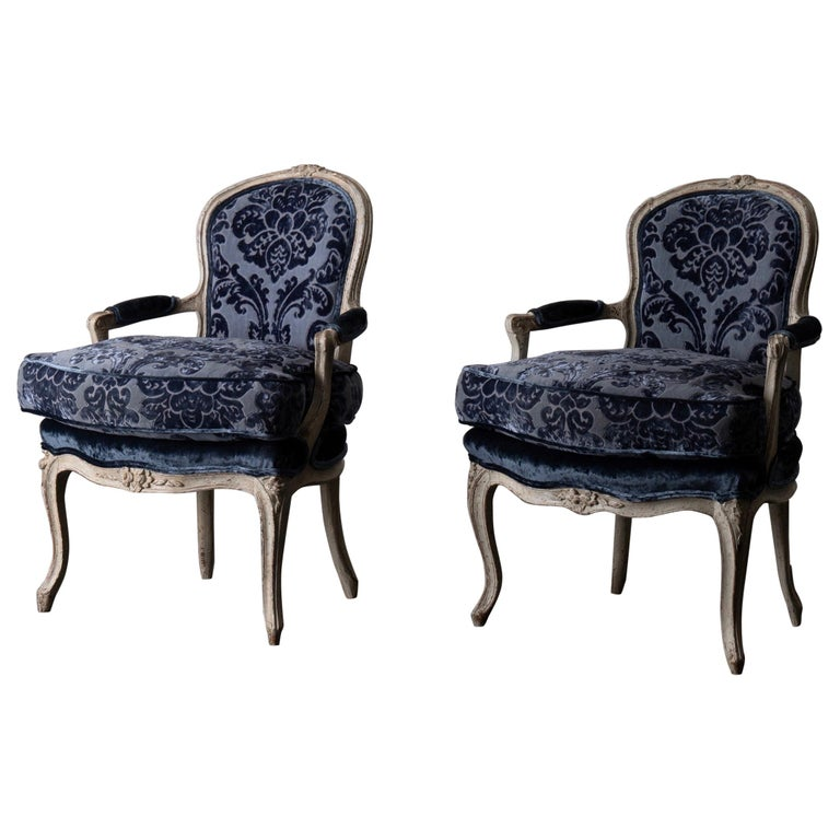 Pair Of French Armchairs White Blue Louis Xv Period Velvet France Armchair Louis Xv Style Armchairs Blue Armchair
