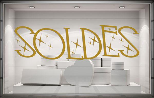 Sticker Soldes Modele Scintillement Soldes Stickers Vitrine Lettrage Adhesif
