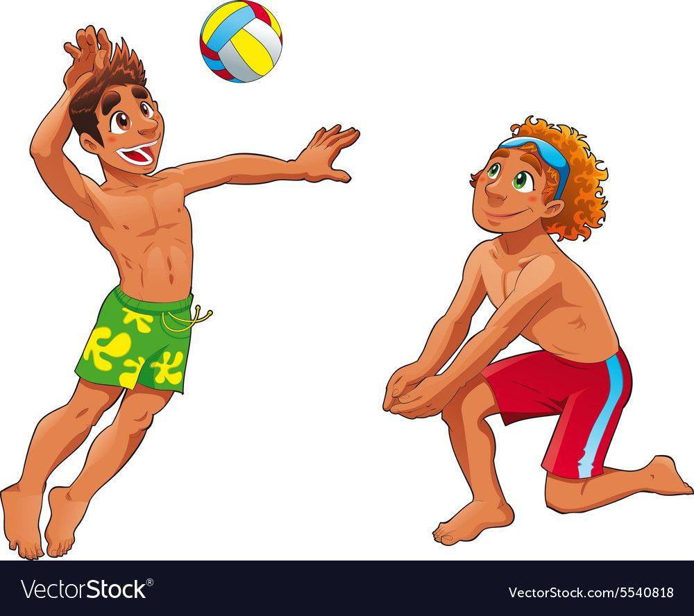 Beach Volley Vector Image On Vectorstock Tumblr Cartoon Funny Cartoon Volley