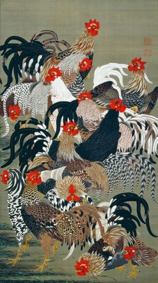 Jakuchu-Roosters