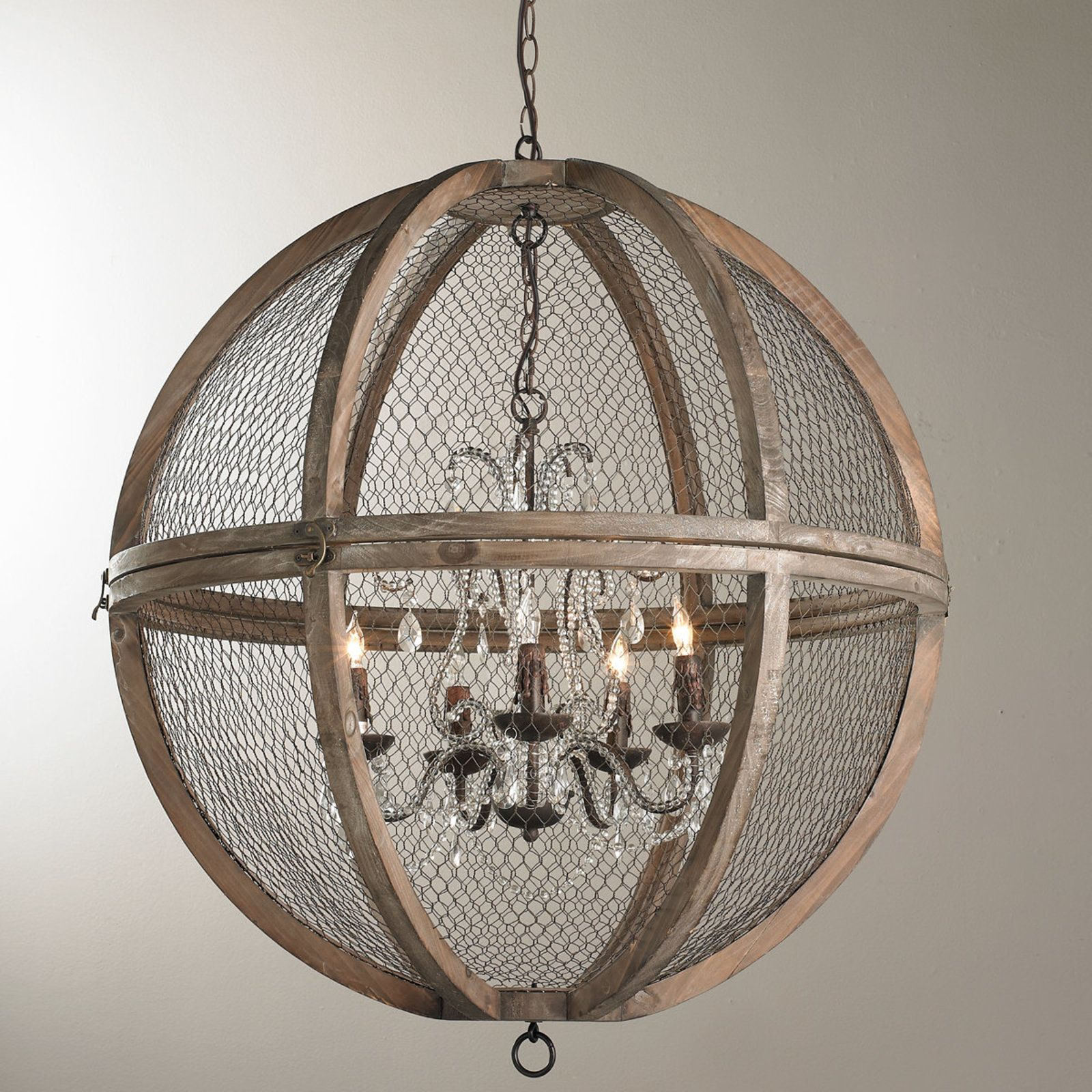 Wire Sphere Crystal Chandelier