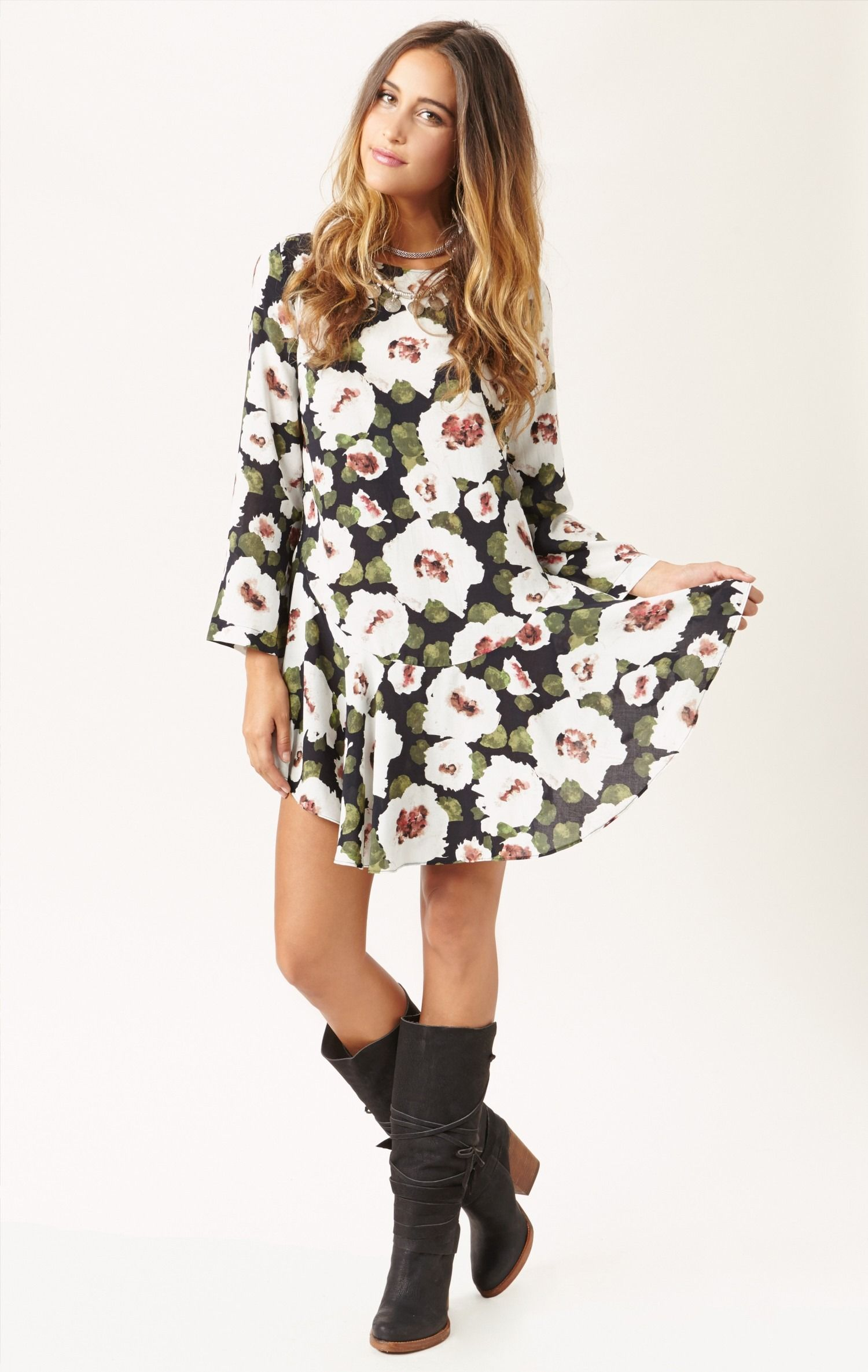 Green long sleeve floral print backless dress look at me