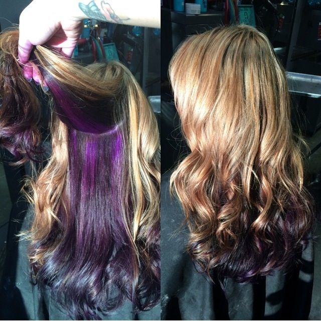 Blonde Highlights With Peek A Boo Purple Hair Highlights Purple Hair Hair