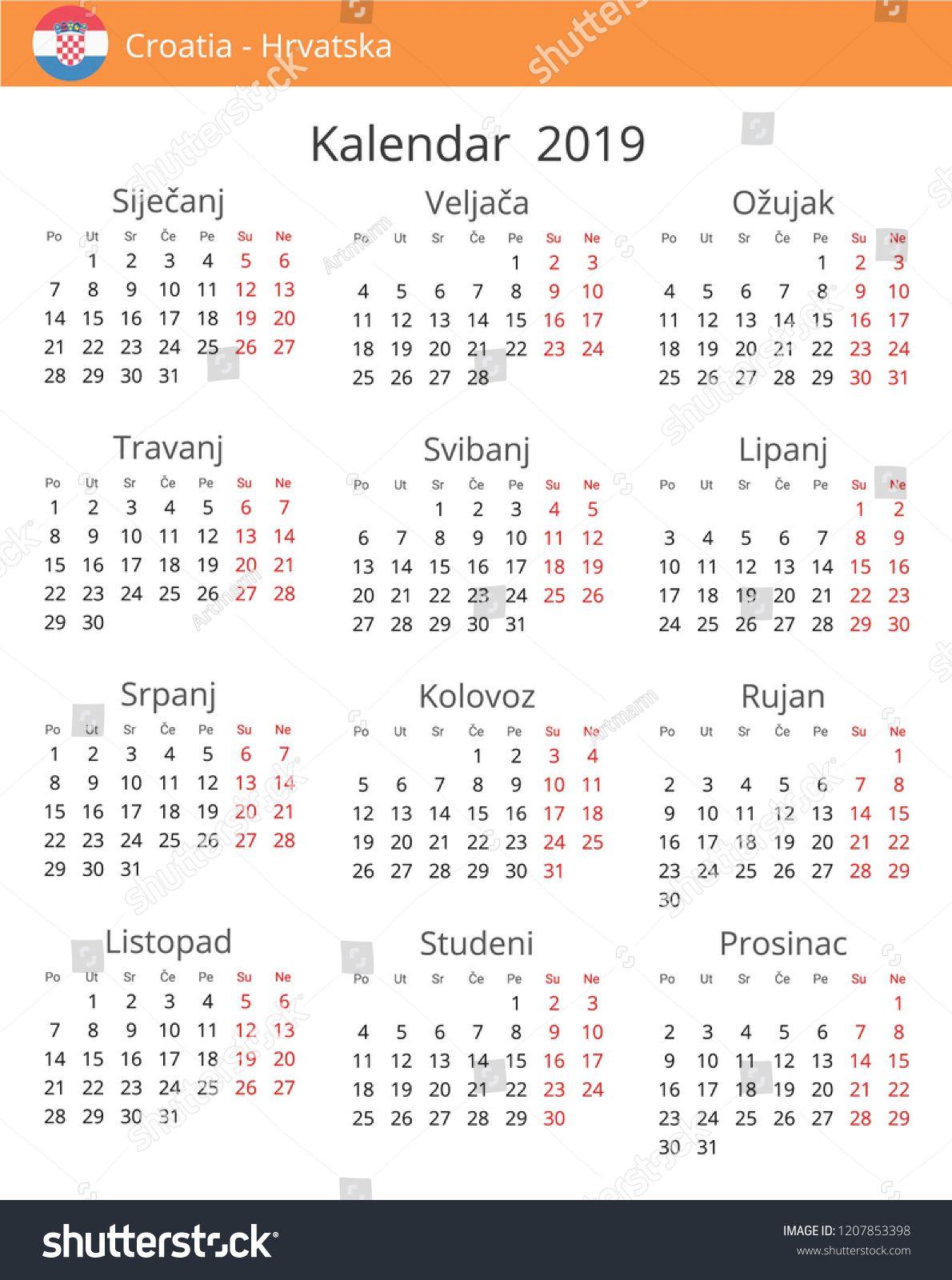 Calendar 2019 year for Croatia country. Croatian language