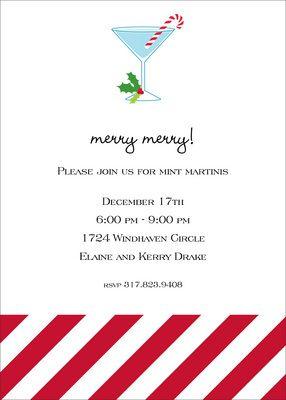 Candy Cane Martini Invitations