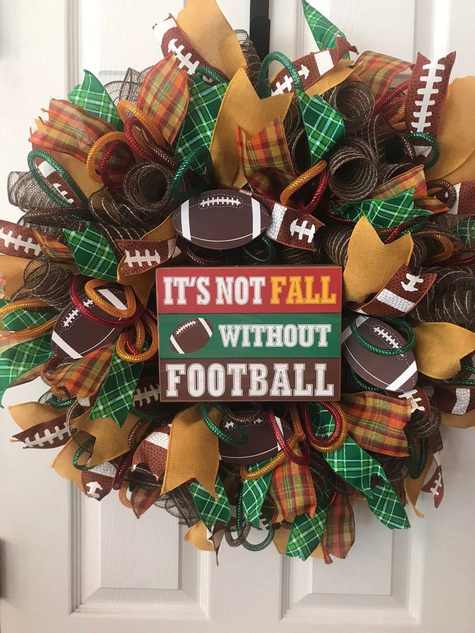Photo of Football Wreath, Football Wreaths, Deco Mesh Wreath, Deco Mesh Wreaths, Sports Wreath, Sports Wreaths, Fall Wreath, Fall  Wreaths