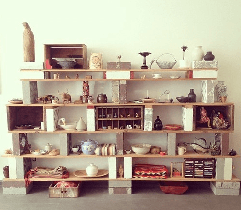 Cinder Block Shelves With Knickknacks