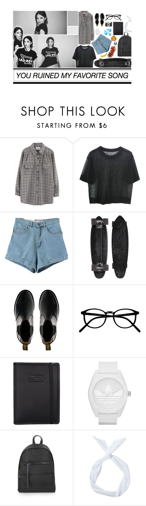 """谜 It's your loss if you want to love me, but your friends will think you're much better than that"" by maydaypvrade ❤ liked on Polyvore featuring Chicnova Fashion, Dr. Martens, LØMO, Nava, adidas and Topshop"