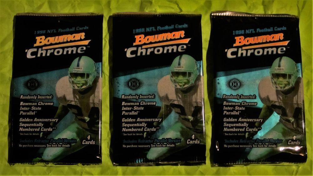 3 1998 bowman chrome football pack lot peyton manning