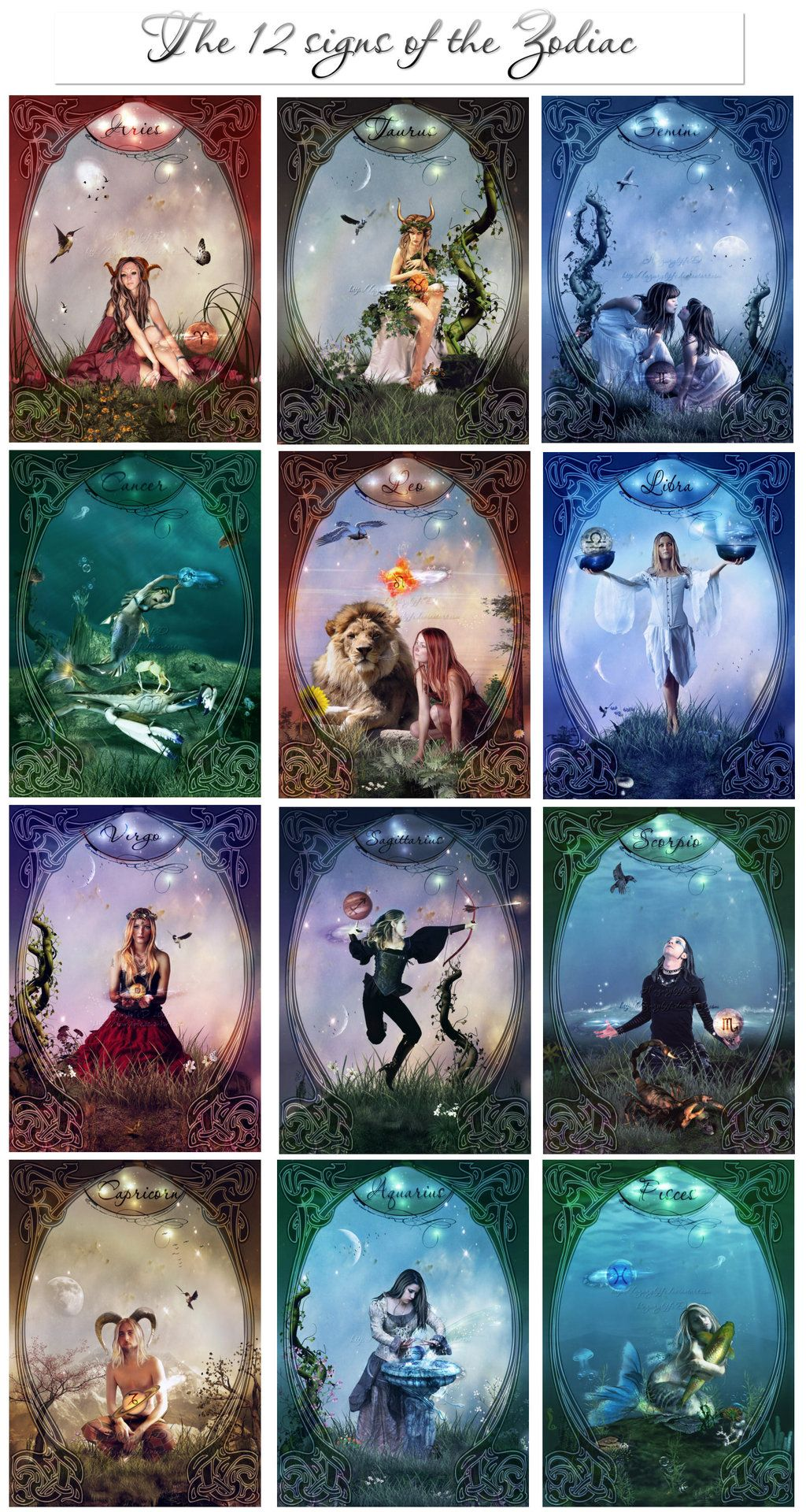 The 12 signs of the Zodiac by azurylipfe on Devian