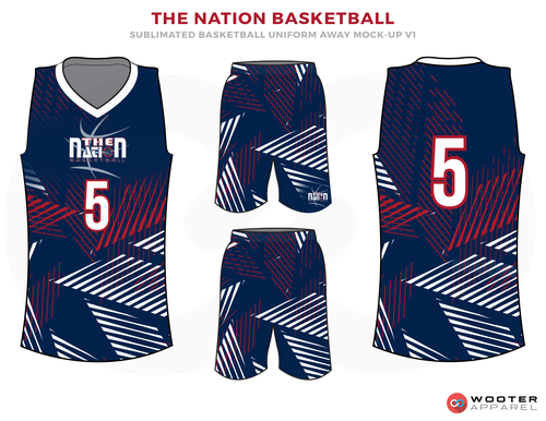 25d21126bb0 THE NATION BASKETBALL Blue Red and White Basketball Uniforms