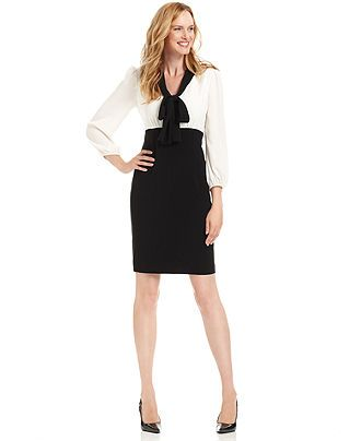 Anne Klein Dress Three Quarter Sleeve High Waist Tie Neck Womens