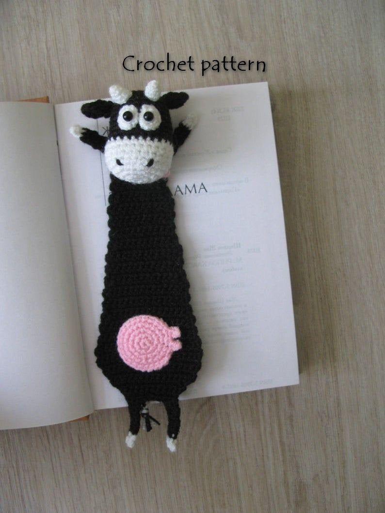 Funny bookmark cow crochet pattern, Amigurumi tutorial