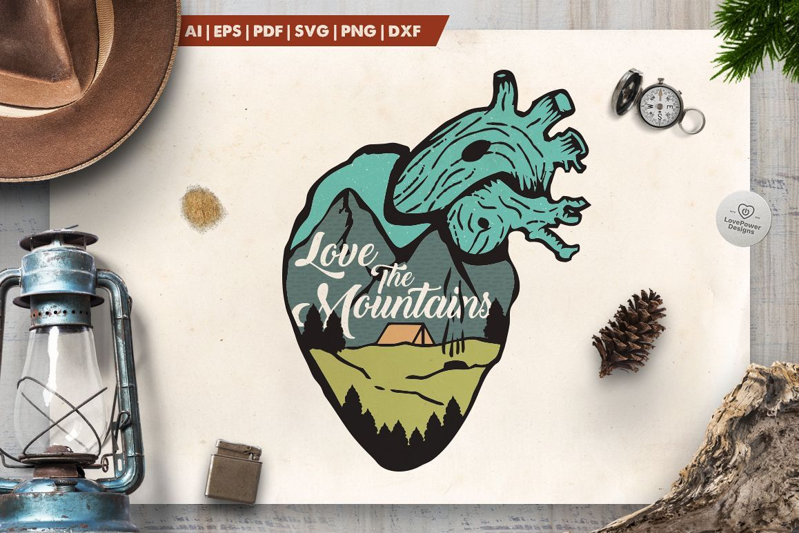 Love the Mountains Logo / Mountain Heart Badge SVG Patch