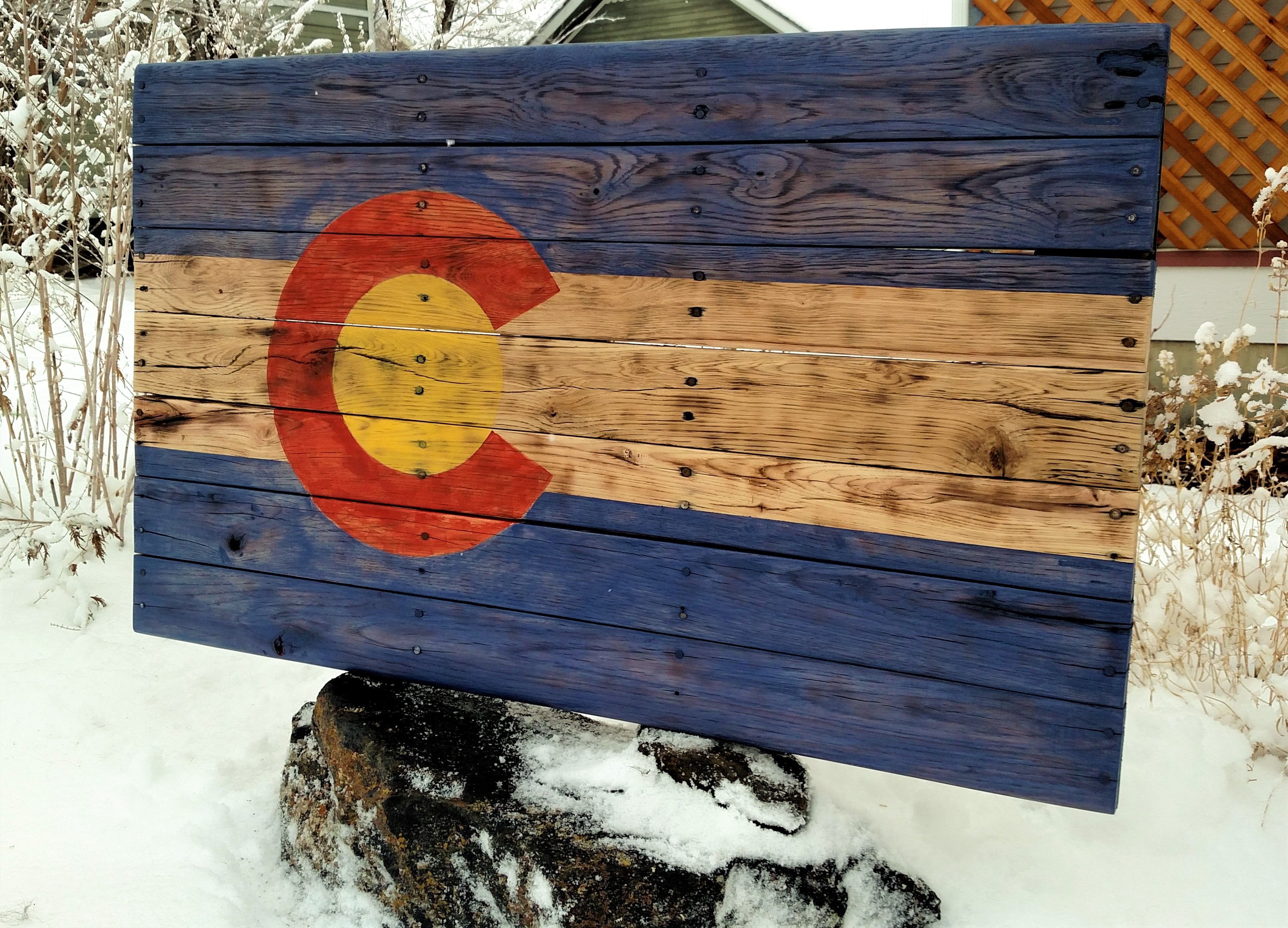 Colorado flag from reclaimed oak. Flag isready to hang and ...