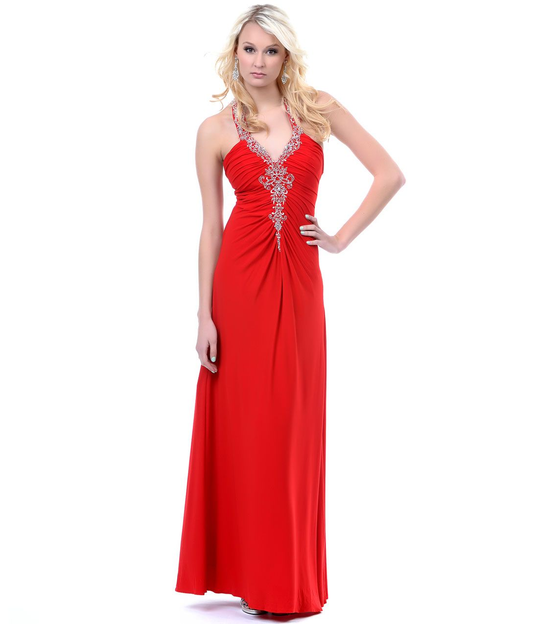 Red grecian jersey prom gown unique vintage prom dresses retro