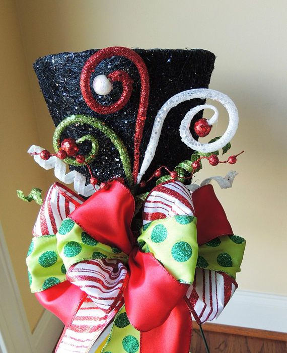 Frosty Lighted Black Top Hat Christmas Tree Topper Centerpiece