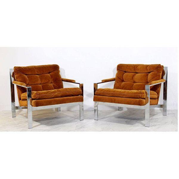 Mid Century Modern Cy Mann Pair Of Chrome Flat Bar Lounge Chairs... (