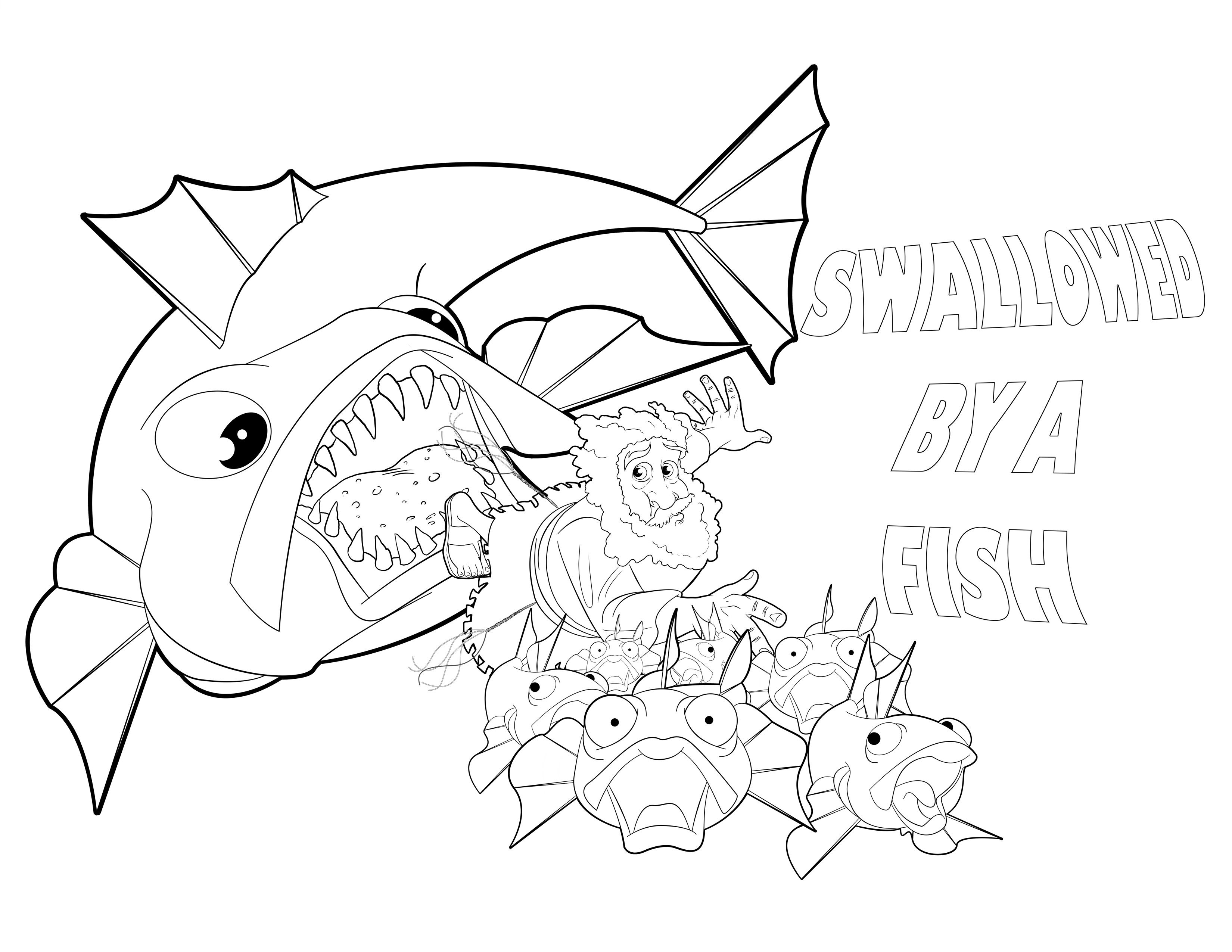 Bible Coloring Page: Jonah and the Big Fish