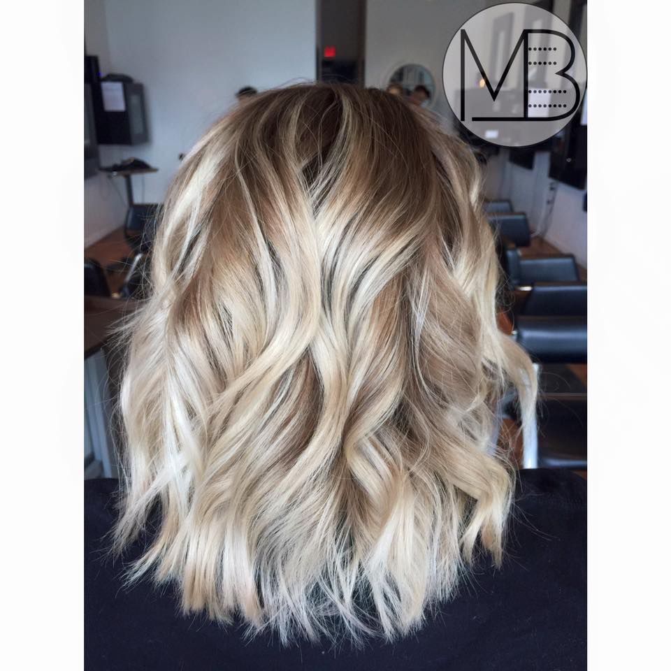 Stretched root color design using color melting and balayage ...