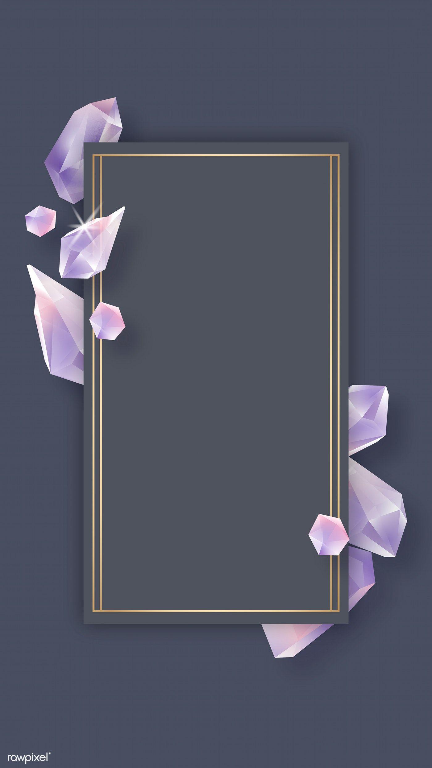 Download Premium Vector Of Rectangle Crystal Frame On Black Background Black Backgrounds Flower Background Wallpaper Backgrounds Phone Wallpapers