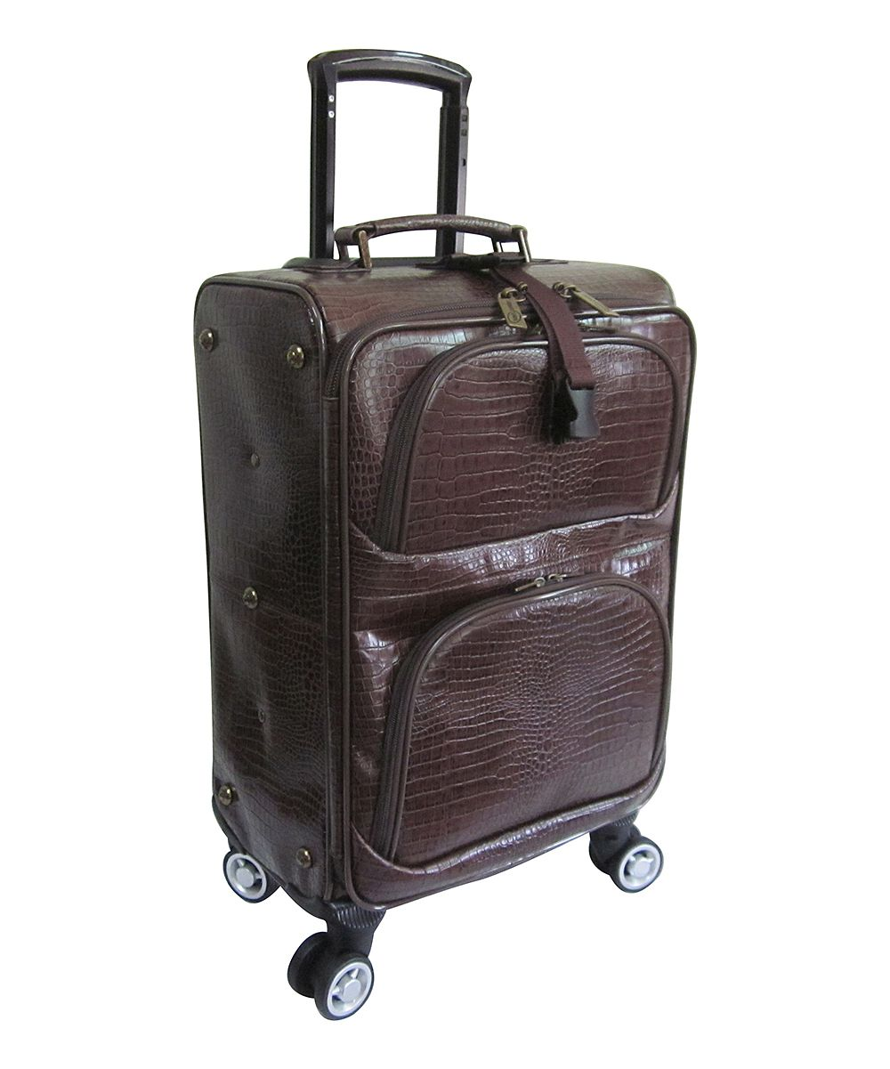 Dark Brown Croc-Embossed Leather Spinner Upright Luggage