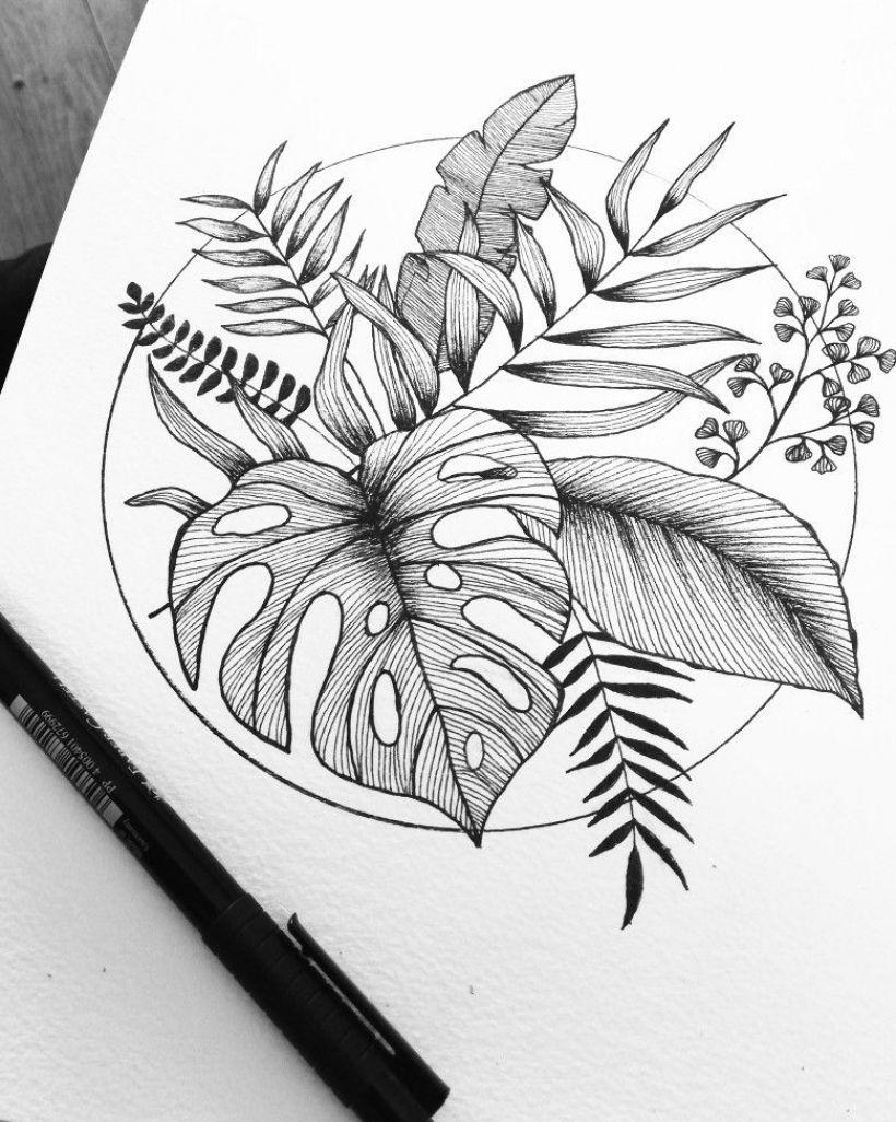Tropical Leaf Ink Fine Art Print £18-20