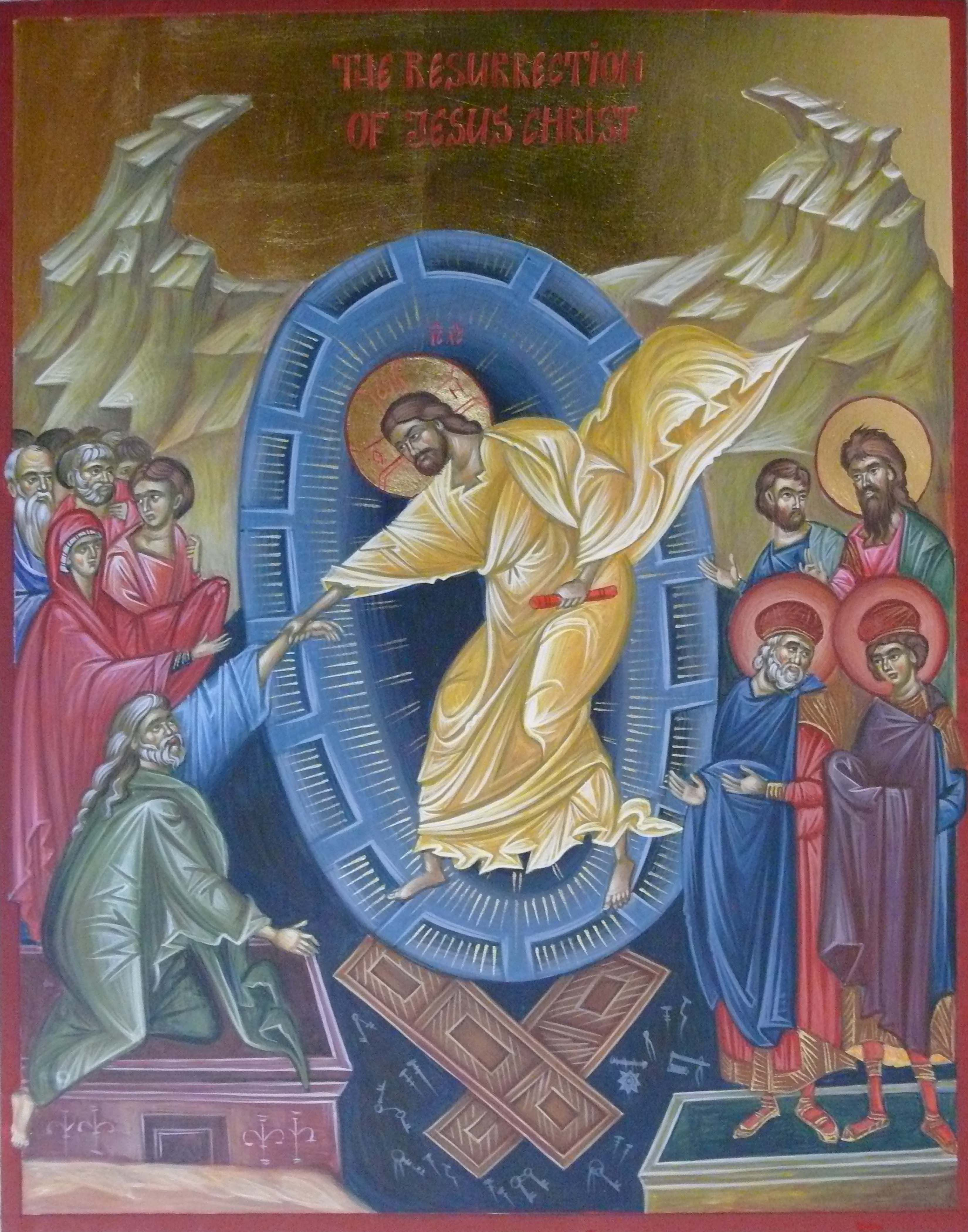 Resurrection icon, icon hand painted, orthodox icon, Byzantine icon created by Bulgarian artist Georgi Chimev.