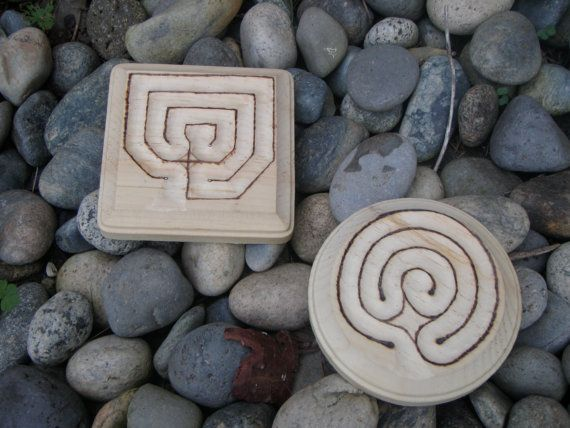 These are nice compact Finger Labyrinths with only three paths, they are either a 3 square or a 3 circle. You choose the direction of the