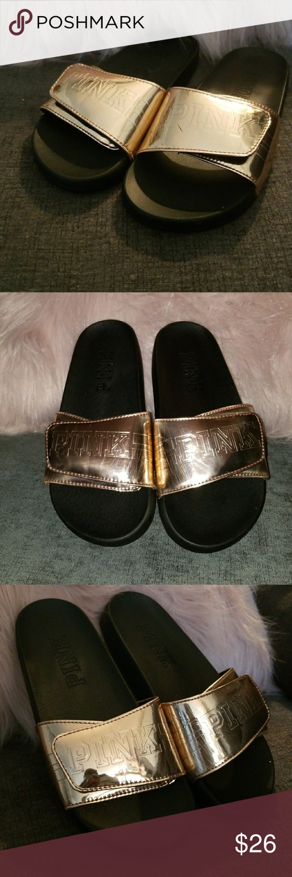 b2b2362dc968 Victoria s Secret slides Victoria s Secret rose gold slip on slides PINK  LOGO WITH ADJUSTABLE STRAPS ROSE