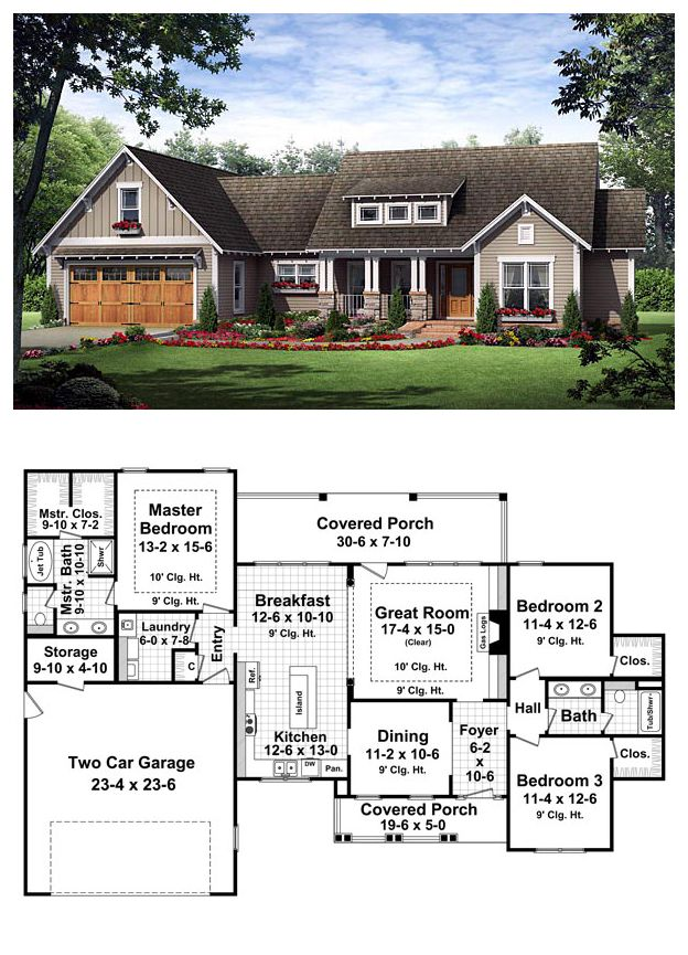 Traditional Style House Plan 59182 With 3 Bed 2 Bath 2 Car Garage New House Plans House Floor Plans Craftsman House