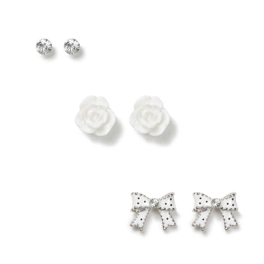 4d9939440 Crystal, Carved Rose and Polka Dot Bow Stud Earrings Set of 3 | Claire's