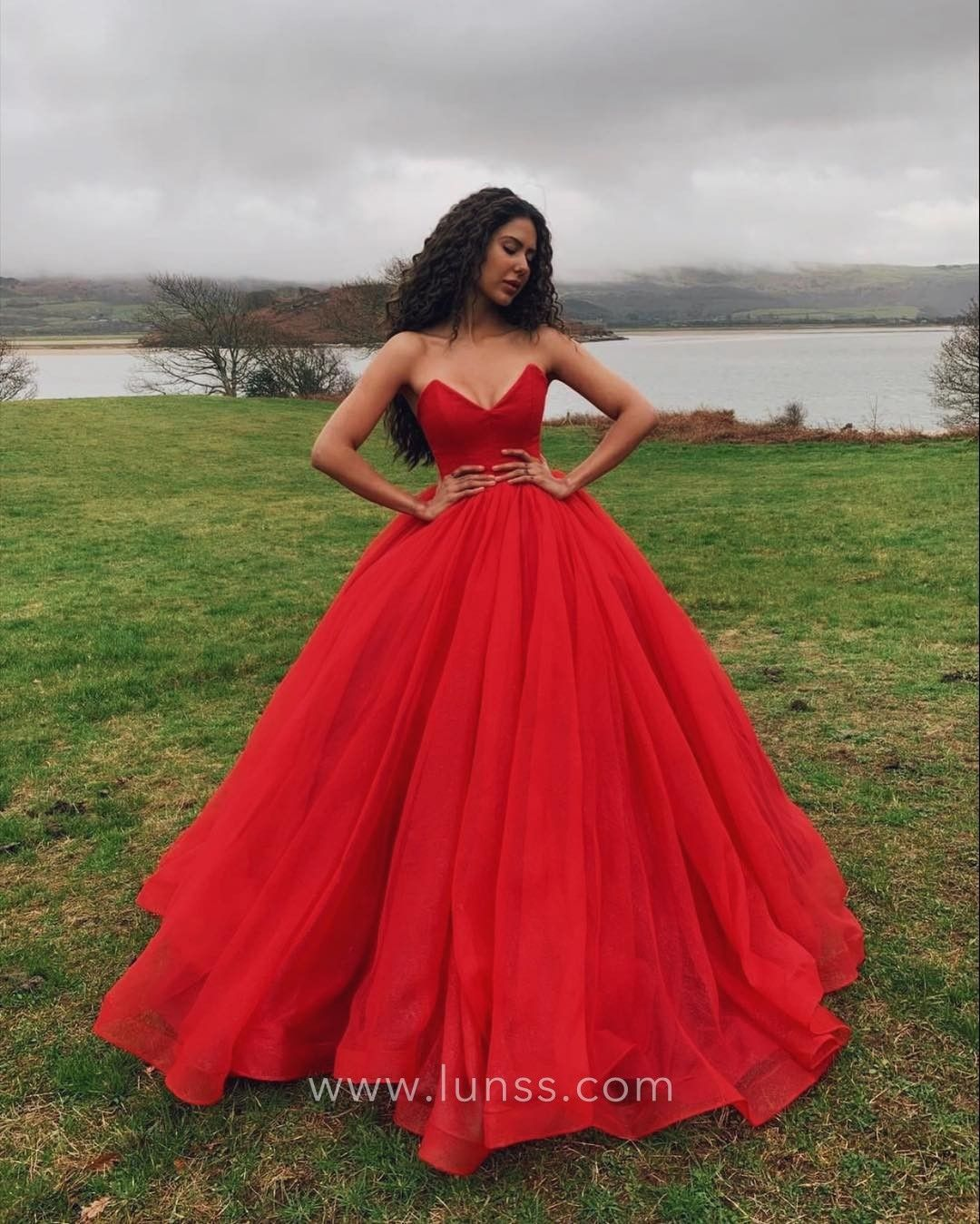 9fe5a0aa7b Simple red satin and tulle strapless V-neck floor length ball gown prom  dress. Corset bodice.