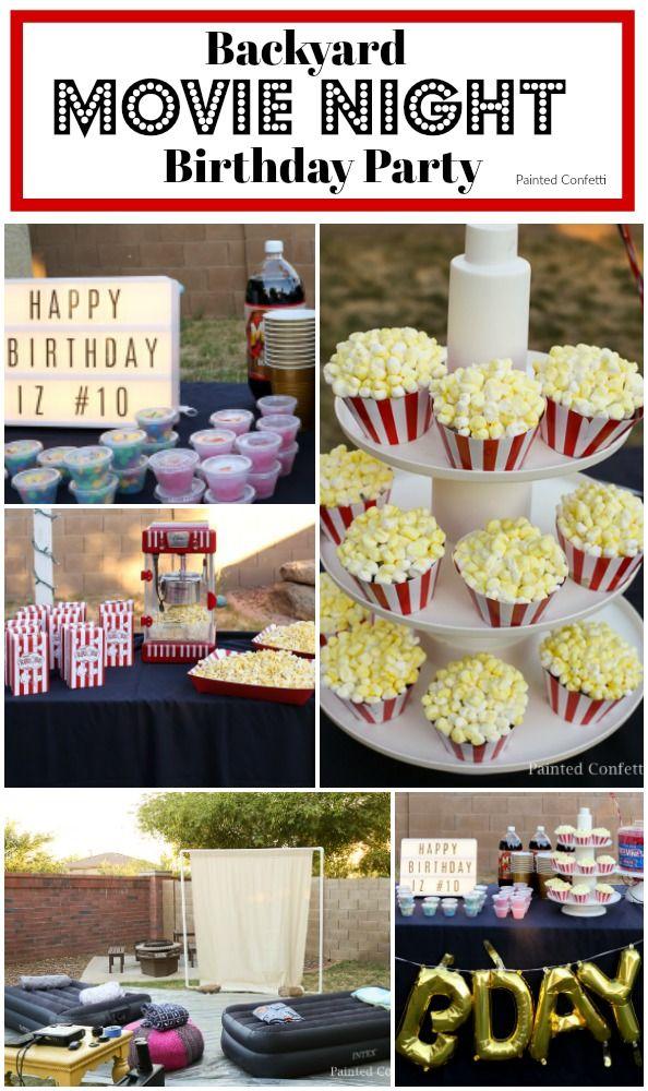 Backyard Movie Night Birthday Party Painted Confetti Movie Night Birthday Party Backyard Birthday Parties Movie Birthday