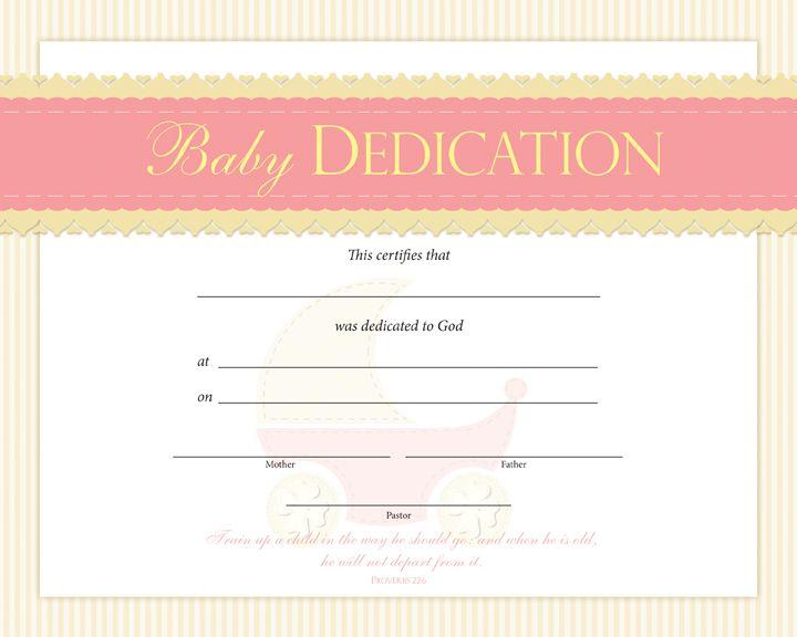 Baby Dedication Certificate  PentecostalpublishingCom  Baby
