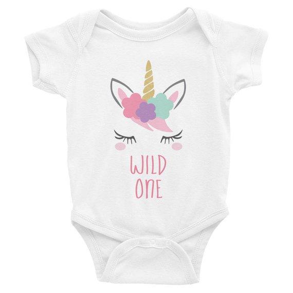 Wild One First Birthday Girl Outfit Unicorn 1st Birthday T Shirt