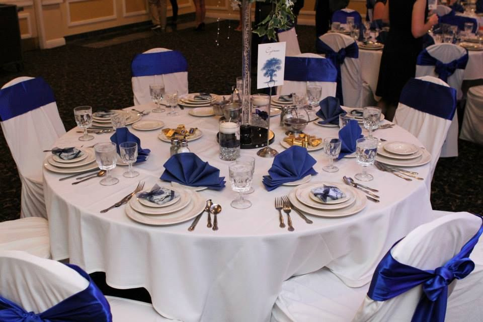 Dark Blue Wedding Reception Tables Each Table Is Named By A